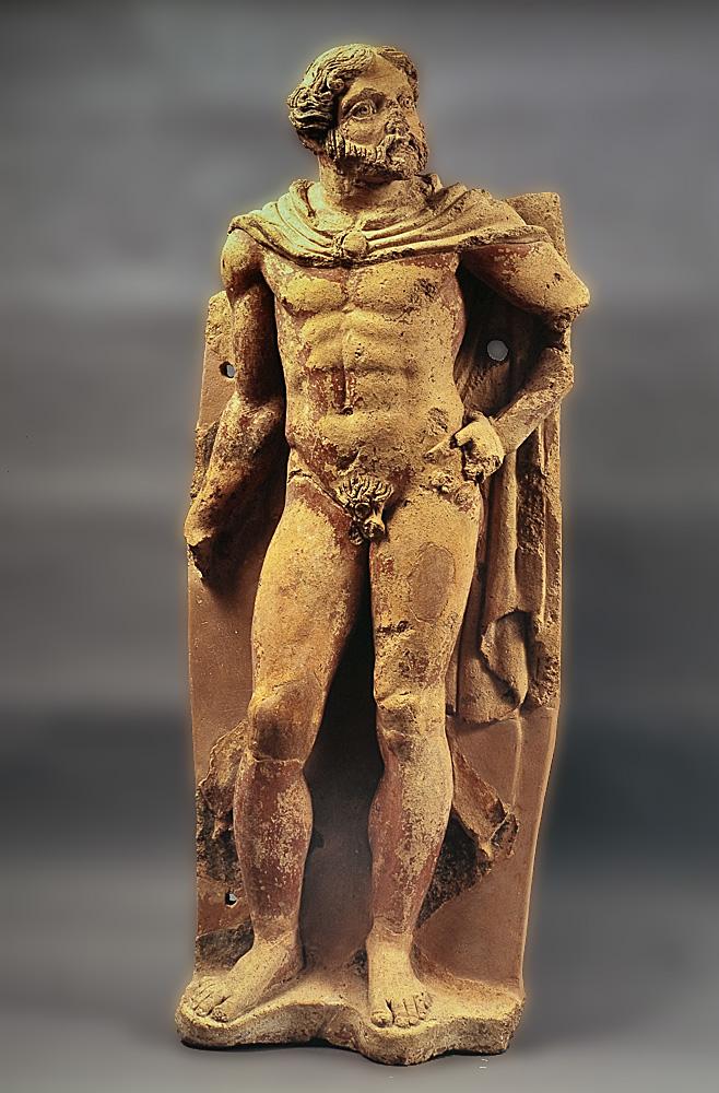 Statua di Ercole in terracotta. Dal tempio di Belvedere. VI-V sec. a.C.